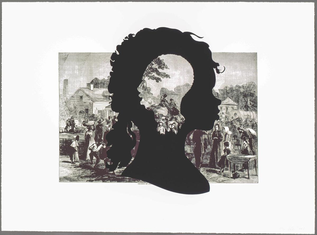 """""""Harper's Pictorial History of the Civil War (Annotated): Exodus of Confederates from Atlanta,"""" Kara Walker. Collections of Jordan D. Schnitzer and His Family Foundation, 2005.339l."""