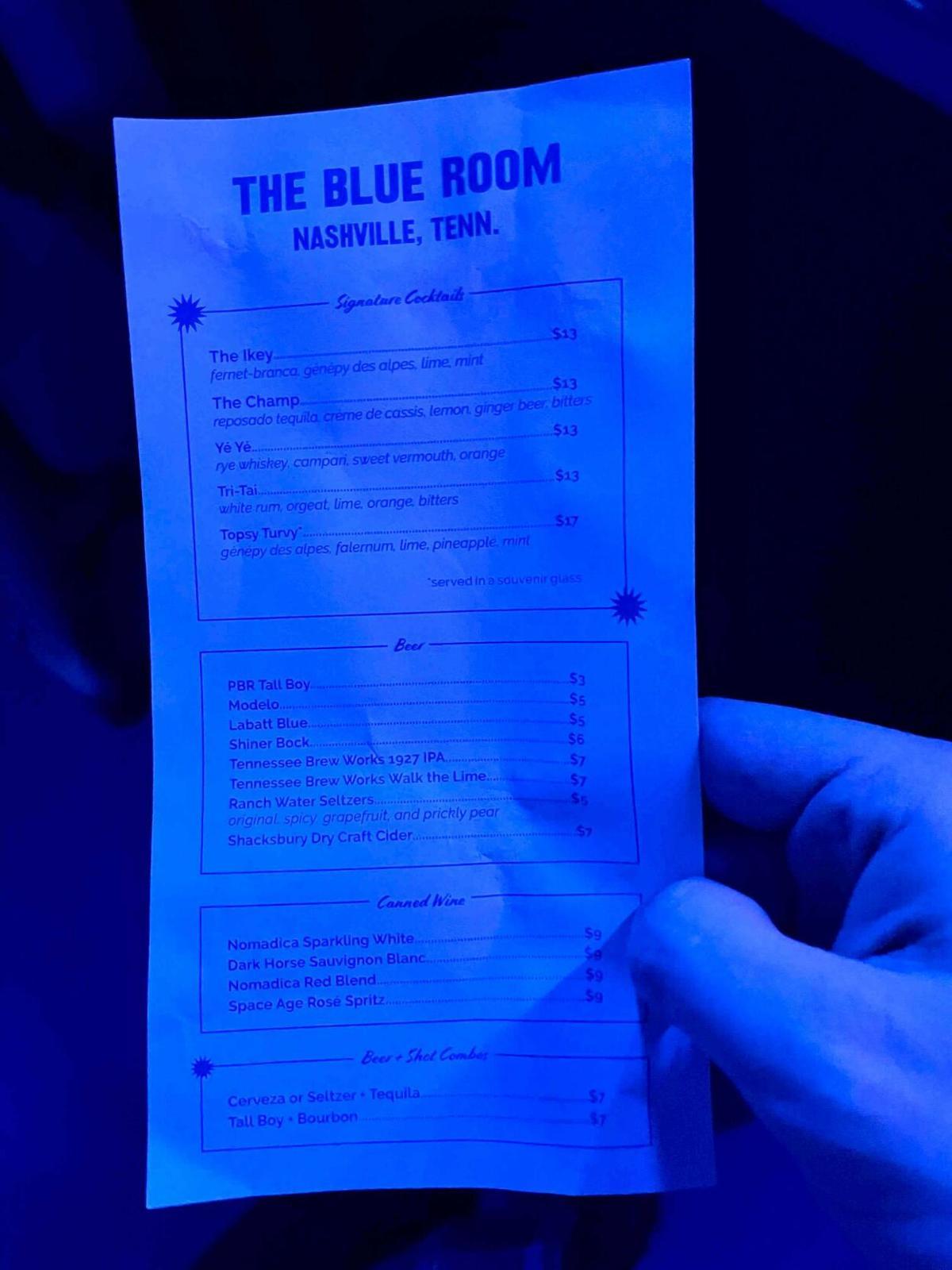 Blue Room Bar Menu