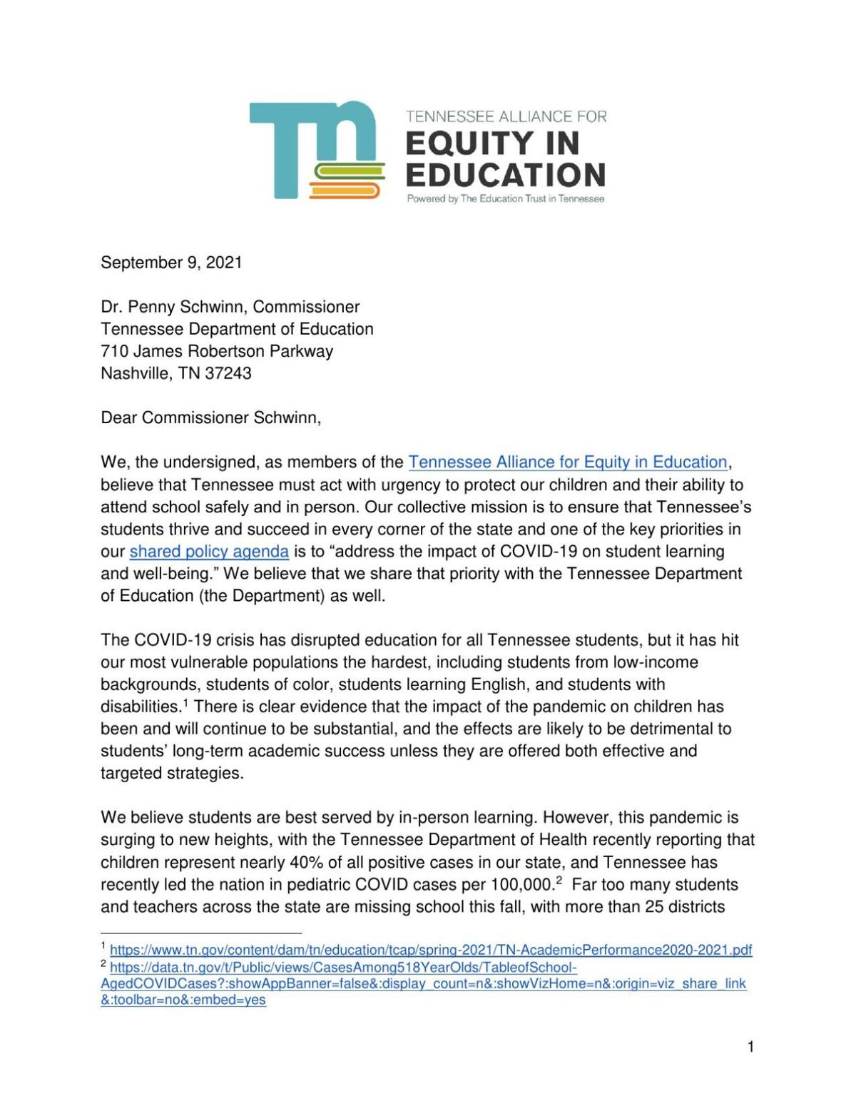 Tn Alliance for Equity in Education Asks for Clarity Regarding COVID-19 Protocols in Schools