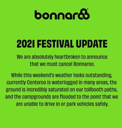 Bonnaroo cancellation notice 2021