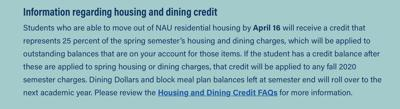 Information regarding NAU offering partial housing/dining credit to students
