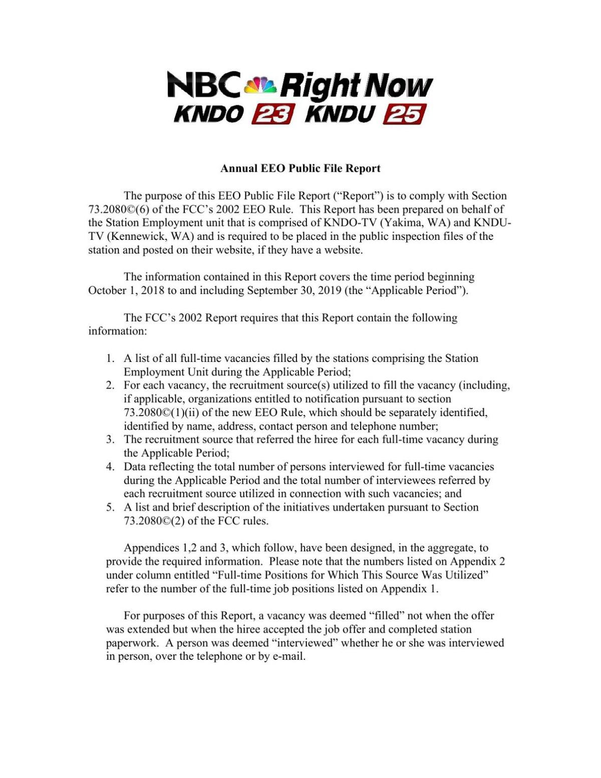 KNDU/O Annual EEO Public File Report (2019)