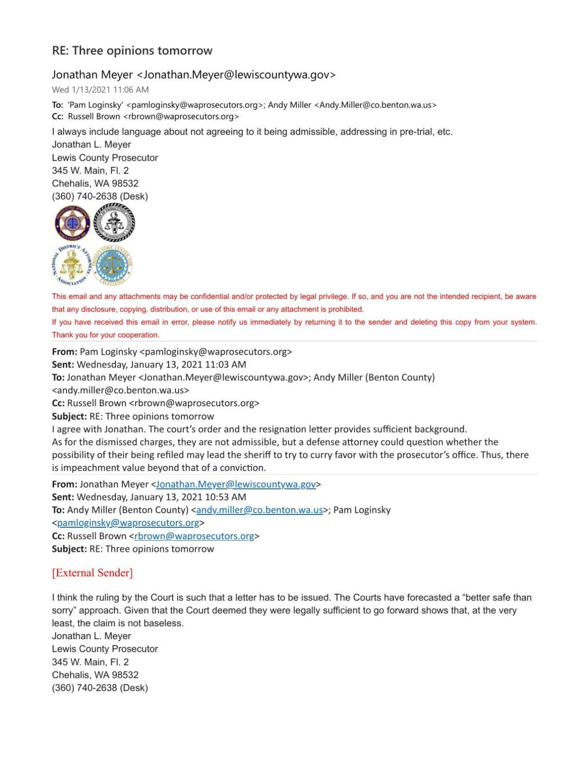 Email thread from  Pam Loginsky to Jonathan Meyer