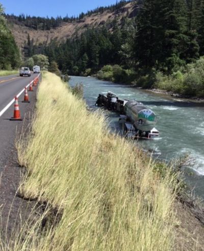 Truck driver falls asleep at wheel, ends up in Naches River