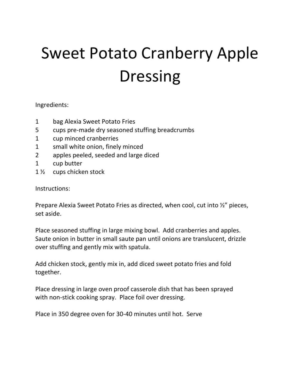 November 9th - Sweet Potato Cranberry Apple Dressing