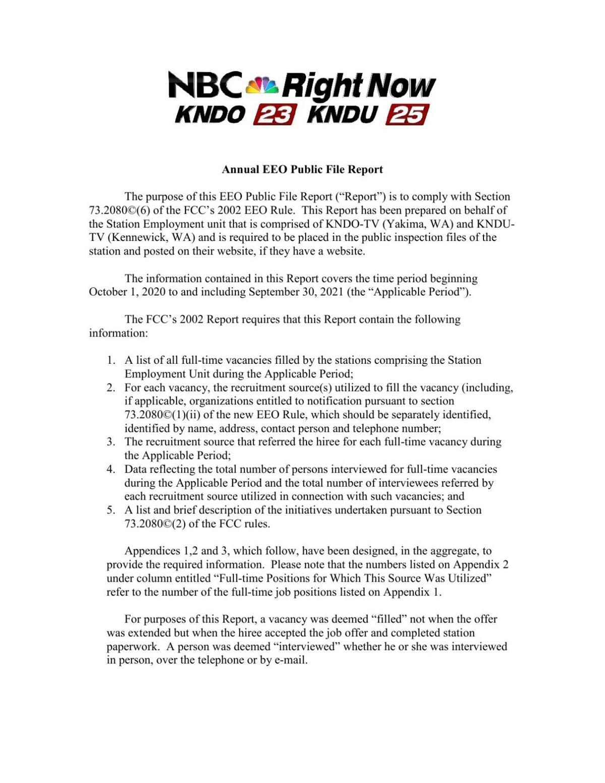 KNDU-KNDO Annual EEO Report (2021)