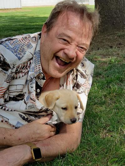Tim with his new  puppy Sunny