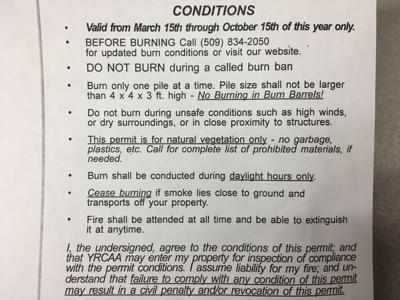 Burning Permit Conditions