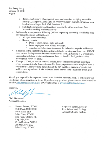 Department of Health releases letter of concern for contamination events following PFP demolition