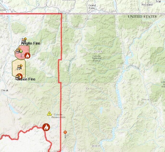 Map of Okanogan fires