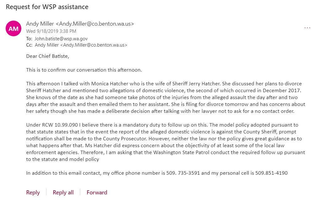 request for WSP assistance email
