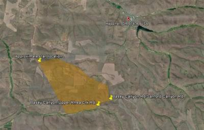 Rhea Fire Map.Firefighters Monitoring Fire For Flare Ups South Of Heppner