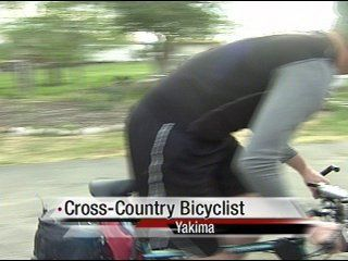 Bicyclist on cross-country ride stops in Yakima