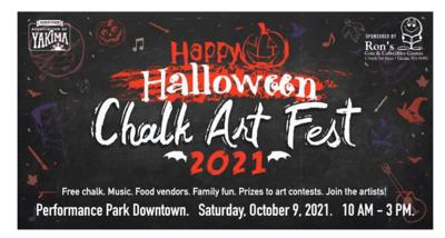 Downtown Association of Yakima presents their Chalk Art Fest themed 'Happy Halloween'