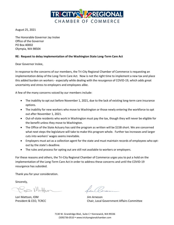 Letter to Gov Inslee