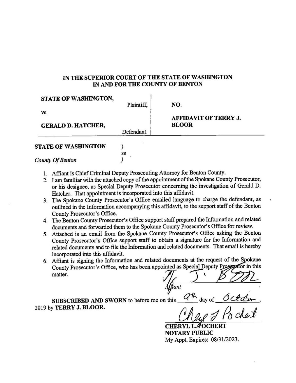 Affidavit State of Washington vs Gerald D. Hatcher