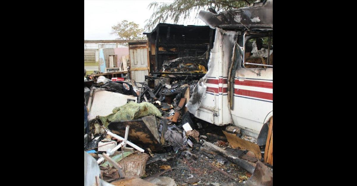 Man arrested for intentionally burning his camper and possession of narcotics