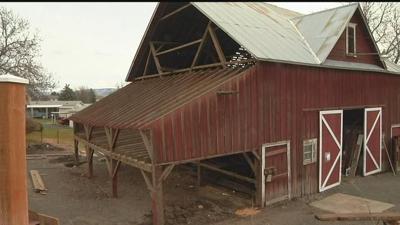 Historic barn on the move
