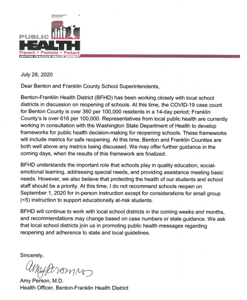 Benton Franklin Health District Recommendation