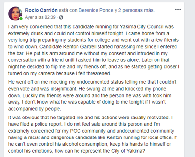 Circulating Facebook video shows Yakima City Council candidate