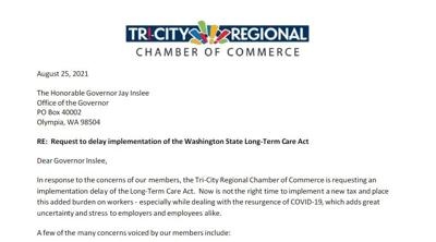 Tri-City Regional Camber of Commerce ask Inslee to delay the Long-Term Care Act