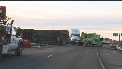 Semi driver falls asleep and rolls trailer; blocks I-82 eastbound