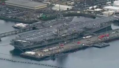 USS Nimitz departs Bremerton Naval Base for six-month deployment