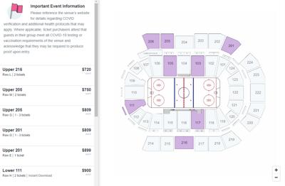 Map of StubHub ticket prices for Spokane Arena