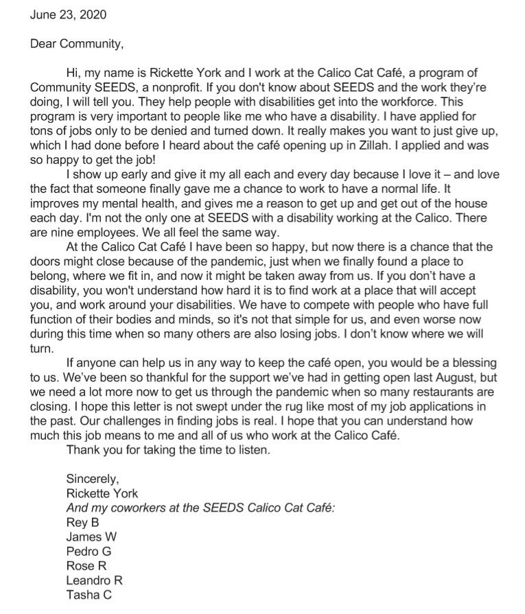 Rickette York Letter