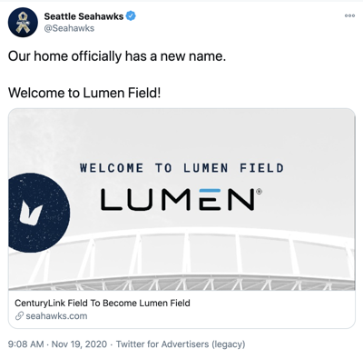 Home of the Seahawks and Sounders, Centurylink Field now named Lumen Field