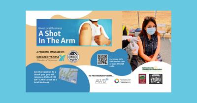 """""""Give A Local Business A Shot In The Arm"""" $50 to $100 Visa gift cards by getting your vaccine"""