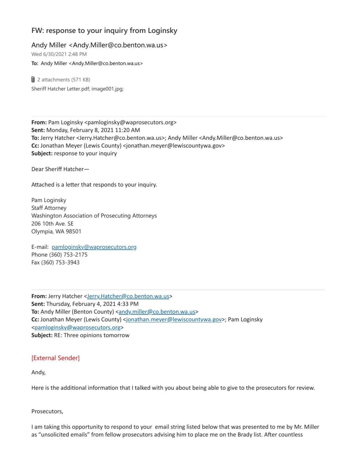 Email tread from Andy Miller - response from Loginsky