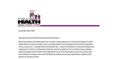 BFHD release update on school districts regarding increase COVID-19 restrictions