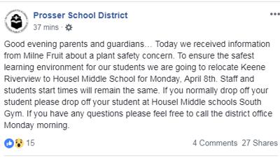 Prosser School District Facebook Post