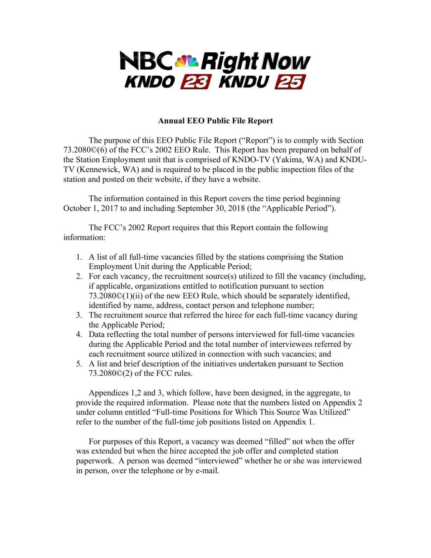 KNDU-KNDO Annual EEO Report (2018)