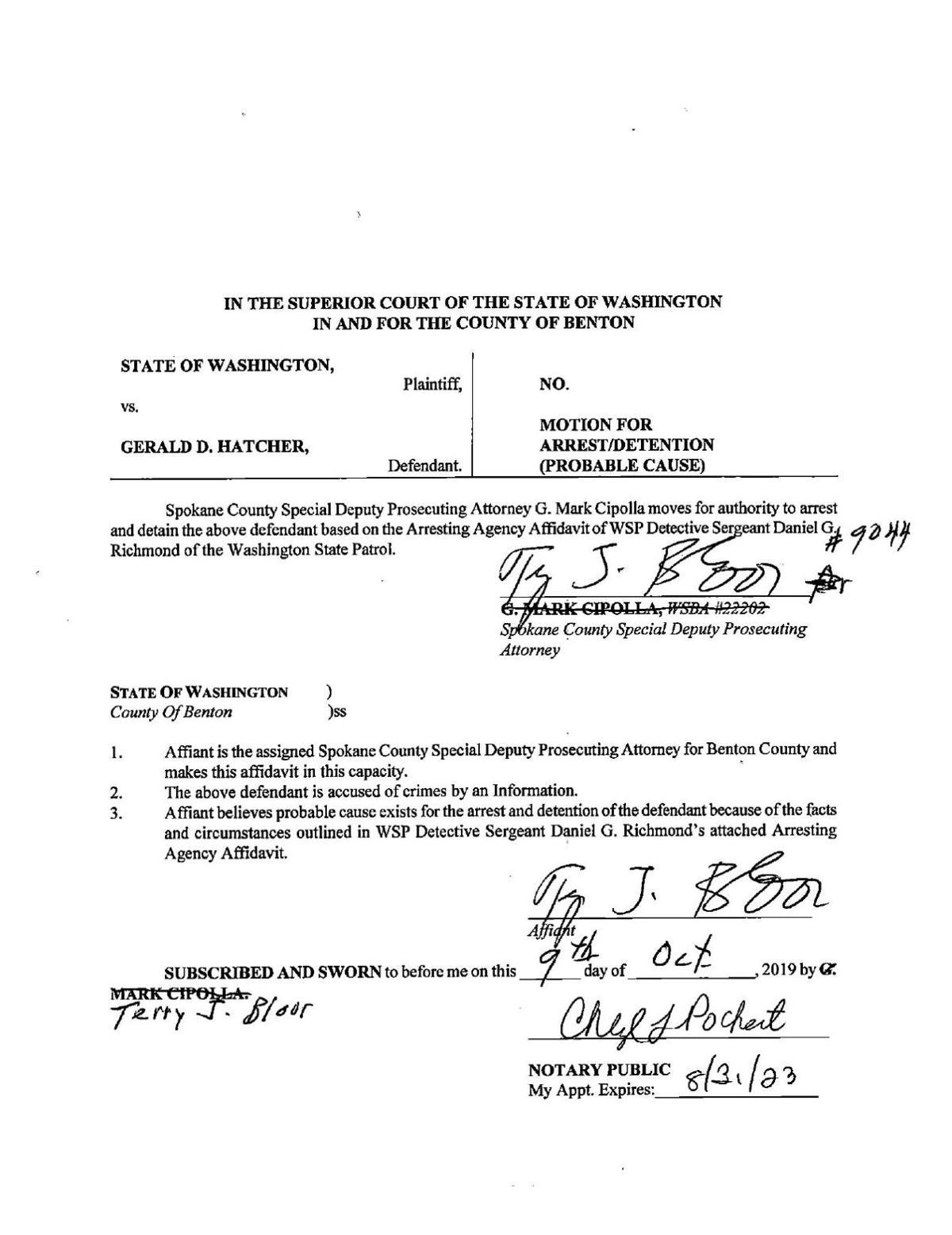 Motion for Arrest/Detention (Probable Cause)
