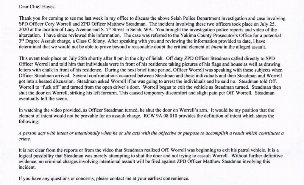 letter concerning the alleged assault involving SPD  Officer Worrell and ZPD Officer Steadman 2