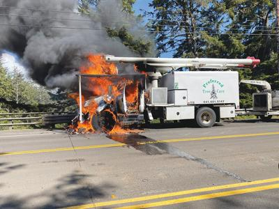 Highway 101 truck fire