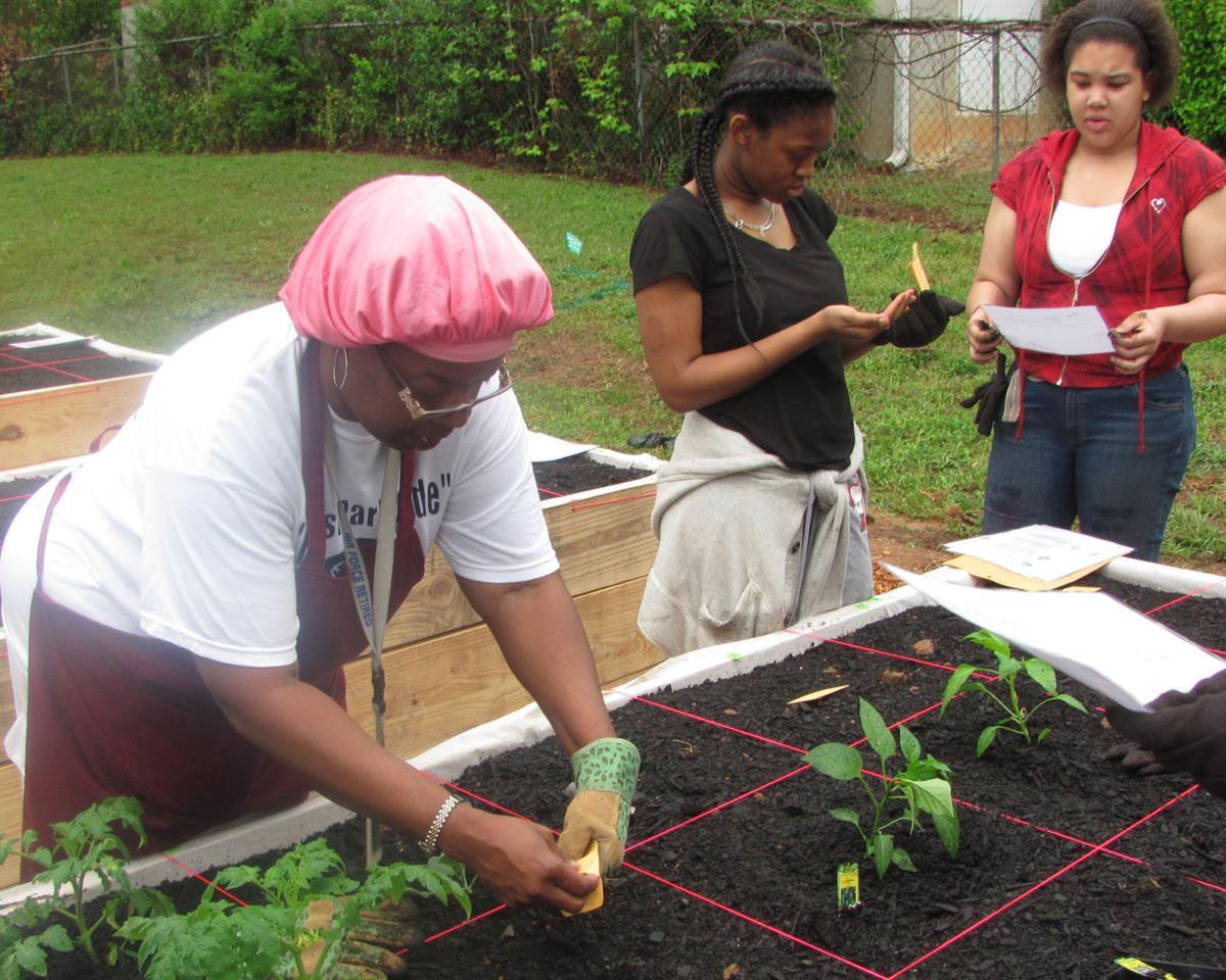 Teens tend to community garden