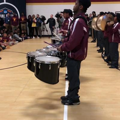 Forest Park High School band entertains students during the Atlanta Read to the Final Four