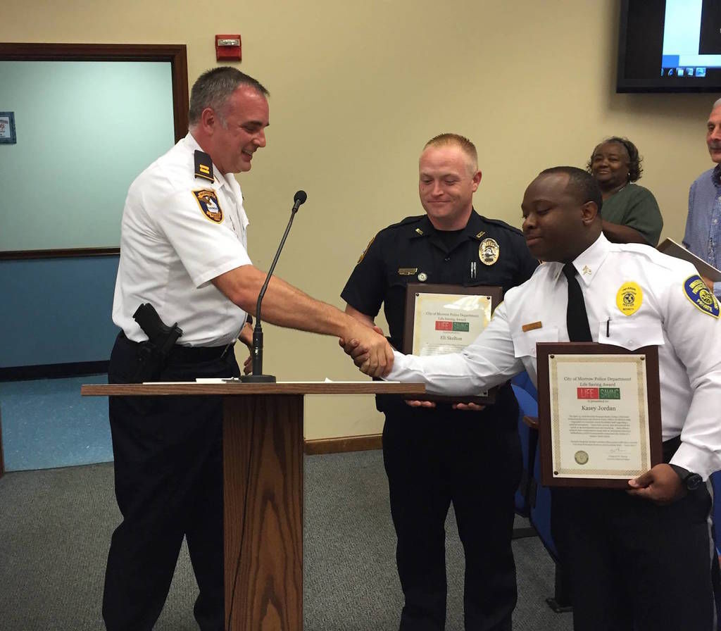 morrow police security officers commended for saving womans life at southlake mall