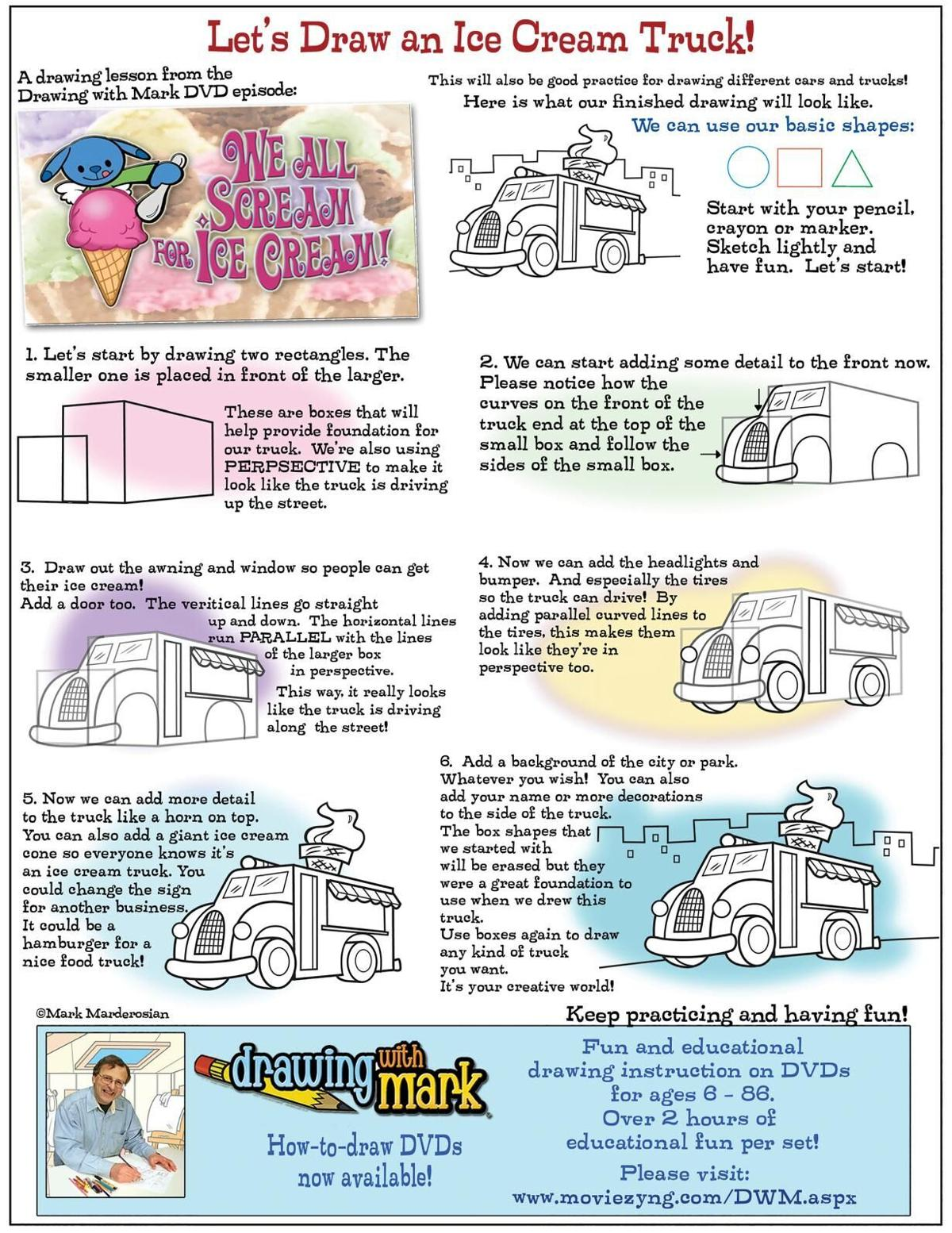 Draw an ice cream truck with Mark