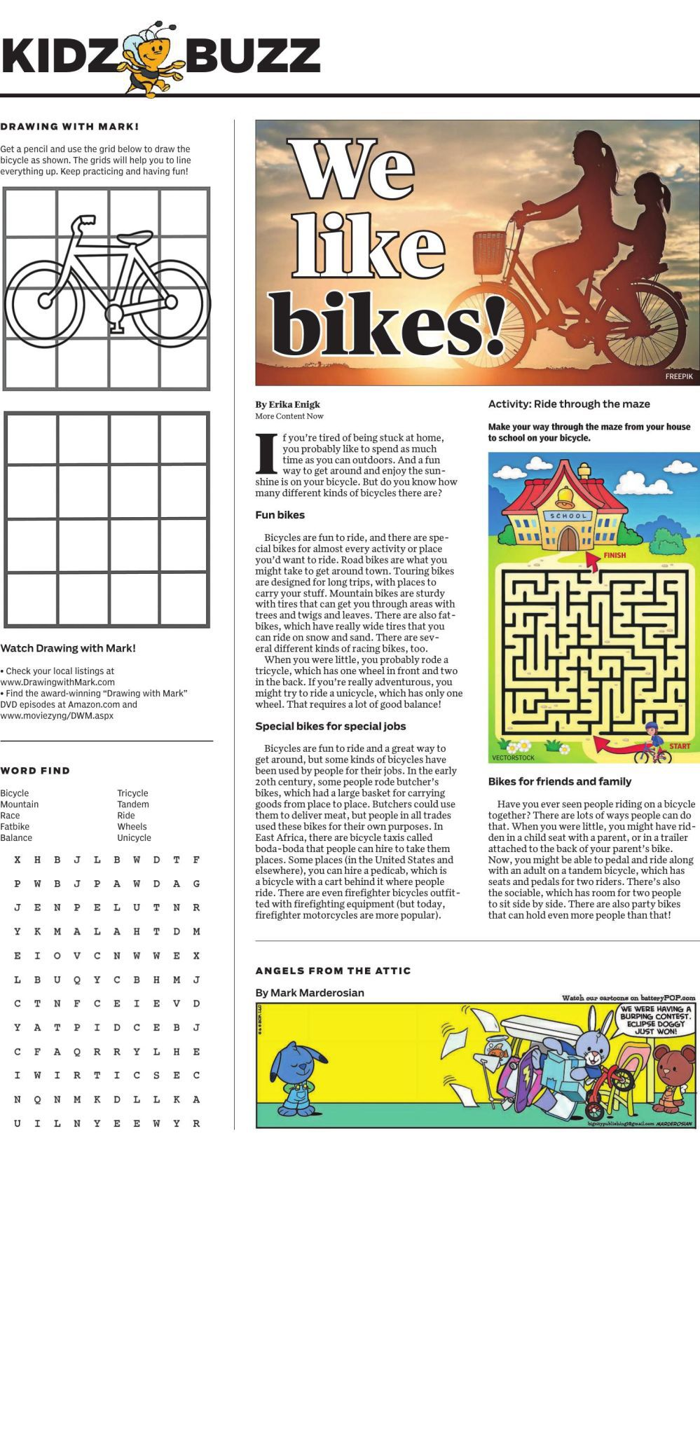 Kids Buzz activity page