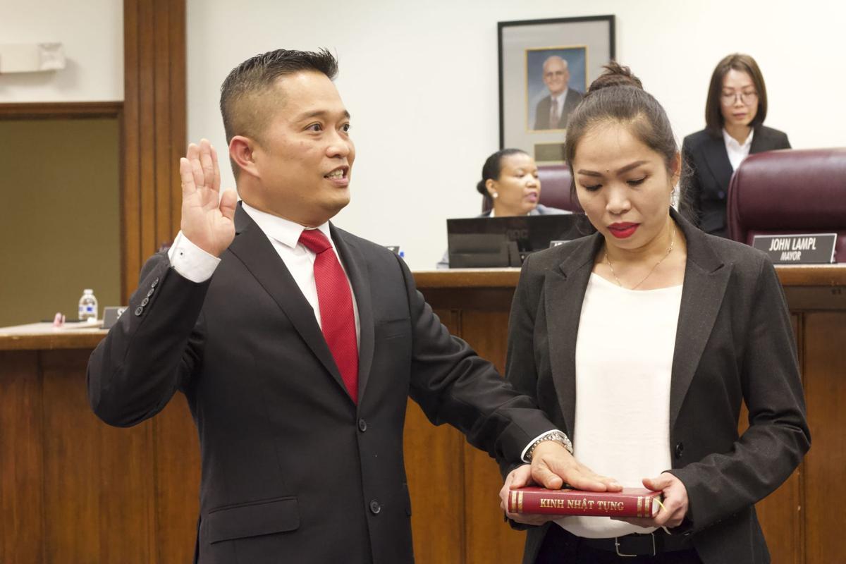 Morrow swears in John Lampl as mayor, Van Tran and Khoa Vuong as councilmembers