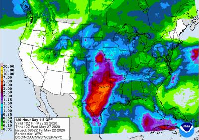 5-day rainfall forecast