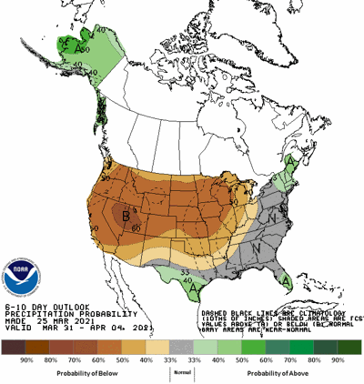 The 6-10 day precipitation outlook