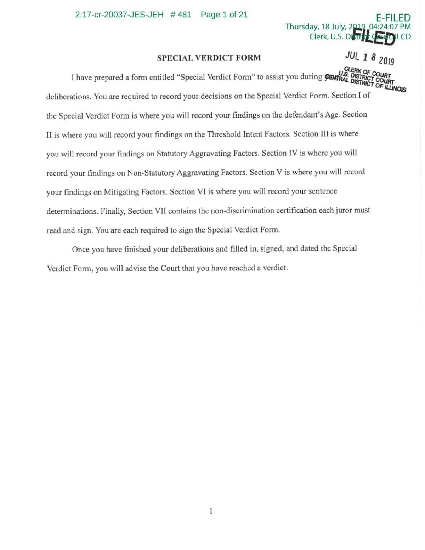 PDF: Jury's special verdict form in Brendt Christensen trial
