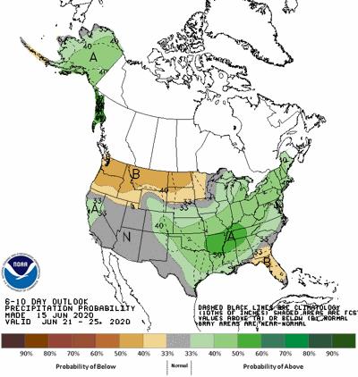 The 6-10 day rainfall forecast