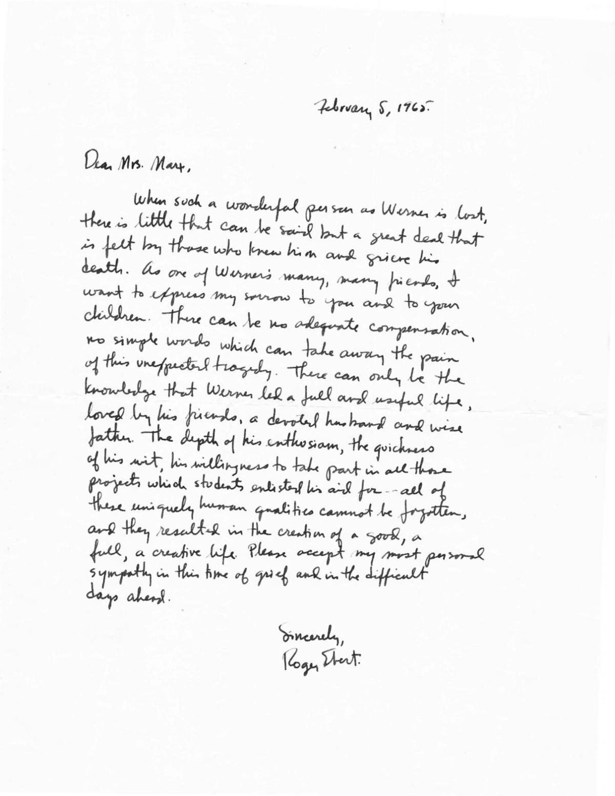 Ebert letter to Frederick Marx's mother