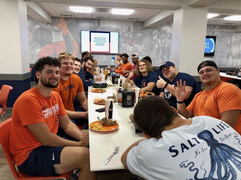 football team sitdown meal